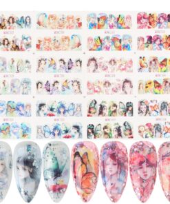 Manicure-Accessories Nail-Art-Sticker Water-Decals Goddess Anime Girl Charm Full-Cover-Slider