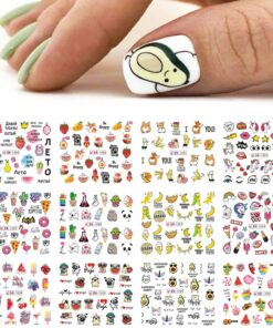 12pcs Avocado Nail Stickers Cute Cartoon Transfer Sliders For Nails Dog Cat Water Decals