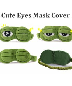 Mask-Cover Goggles Sleeping-Rest Plush-The-Sad Funny Relax Eyes 3D Frog Green Cute 1pc