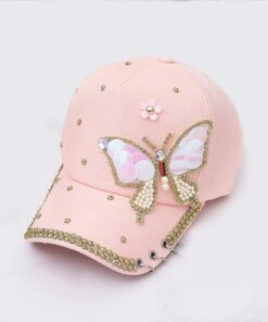 2019Summer women hat Mesh Baseball Caps Snapback pearl Animal Anime Cute butterfly Embroidery
