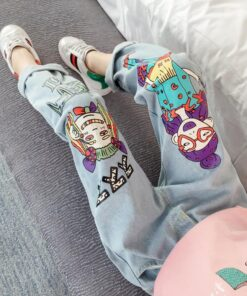 Jeans Beauty Anime Girls' Cartoon Clothing Teen 3-13-Years Kids Children's Hipster New-Arrival