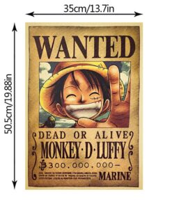 2021 Anime One Piece Monkey D. Luffy Reward Series Kraft Paper Poster Character Home Decor Painting Wall stickers 52*36cm