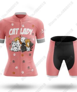 2021 Funny Cat Cycling Jersey Set Women's Cartoon Anime Cycling Clothing Ladies Road