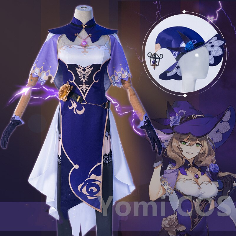 Cosplay Costume Dress Librarian Genshin Impact Anime High-Quality Witch Game Rose The