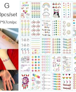 Tattoo Sticker Face Rainbow Temporary Colorful Body-Art Expression 30pcs INS Lovely