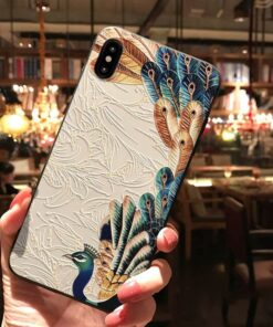3D Koi Luck Emboss Cover For iPhone 11 12 Pro Max 5 5S SE Capa Anime Coque For iPhone