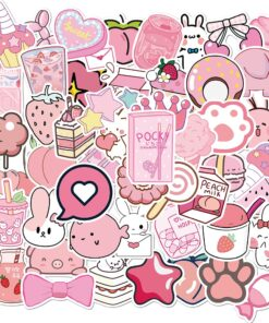 50PCS Pink Cartoon Fresh INS Style DIY Stickers Anime For Notebook Laptop Skin Sticker