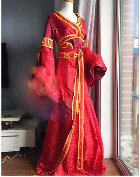 Red Costume Hanfu Fantasy Anime Female Chinese Bride for Chang'an Night-Red 7-Designs