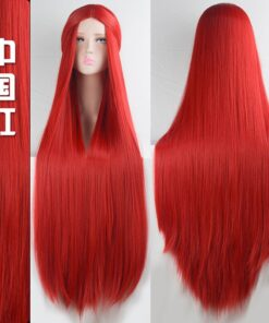 AILIADE 100CM Long Straight Wig Cosplay Heat Resistant Synthetic Hair Wig Purple Pink