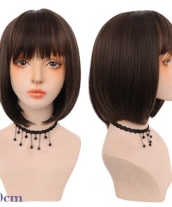AILIADE 11-inch Synthetic Short Straight Bob Wig with Bang Heat Resistant Green Lolita