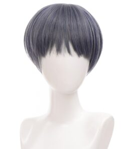 AILIADE Synthetic Straight Short Wigs Mixed Blue Heat Resistant Wigs for Women Man Cosplay
