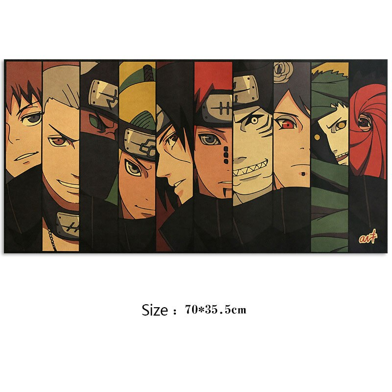 AIMEER Vintage Anime Naruto Akatsuki Characters Collection Style C Kraft Paper Poster Retro Dormitory Decor Painting 51x36cm
