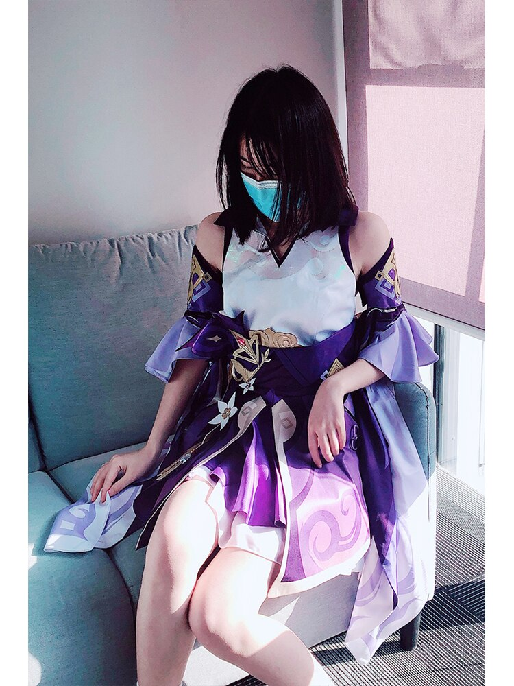 Dress Anime Game Keqing Cosplay Genshin Necklace-Accessories-Set Costume Impact-Girl