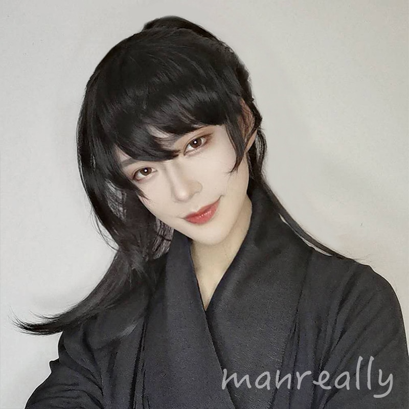Ailiade Cosplay Anime Male Wig Short Straight With Bangs Ponytail Natural Black Synthetic