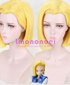 Anime Android 18 Cosplay hairwear Short yellow wig +Wig Cap