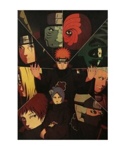 Vintage Poster Stickers Wall-Decor Anime-Characters Paper Kraft