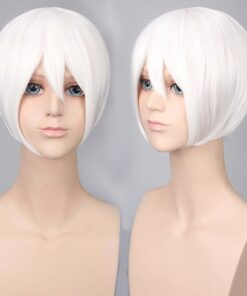 Wig Synthetic-Hair Grey Anime Cosplay Pink Cheap Blonde Short with Bangs Heat-Resistant