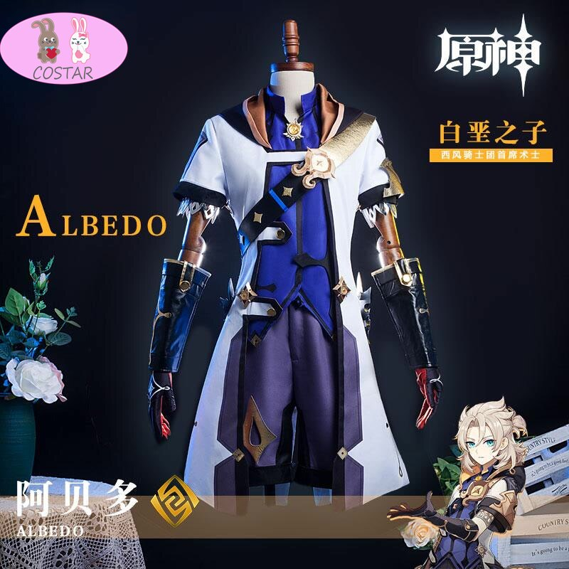 Costume Knight Game-Suit Halloween Outfit Anime Genshin Impact Albedo Cosplay Wind