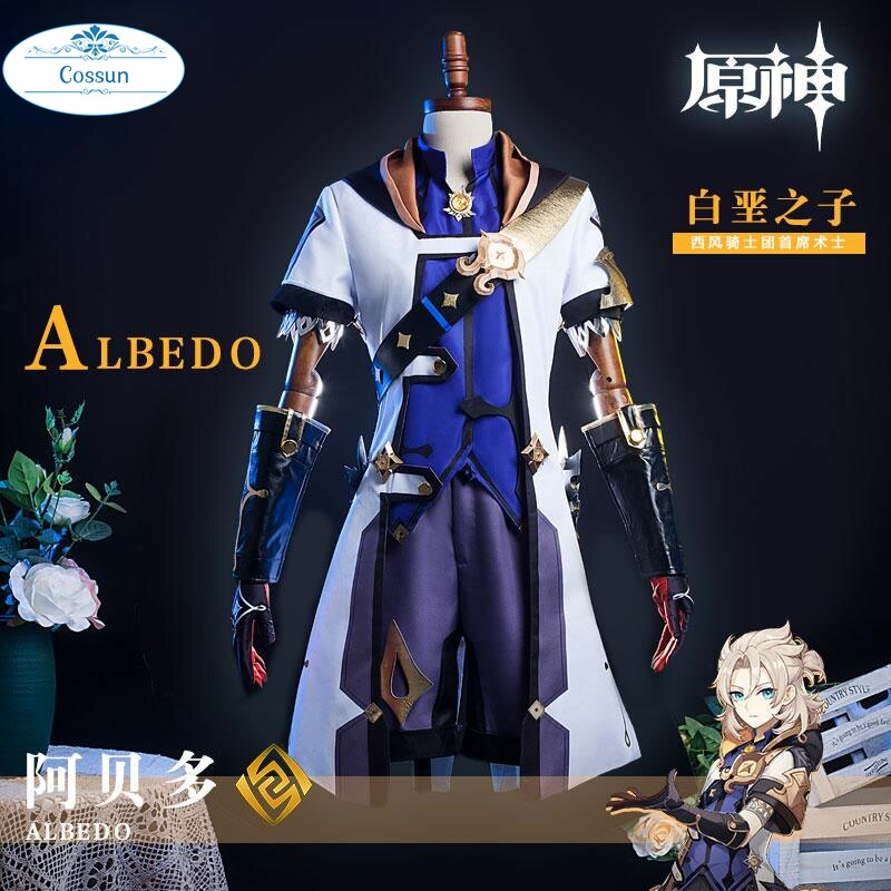 Costume Knight Genshin Impact Albedo Cosplay Game-Suit Halloween Outfit Anime Wind