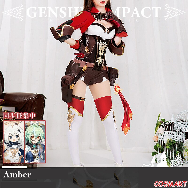 Cosplay Costume Party-Outfit Game Impact-Amber Genshin Women Suit Anime Halloween Girls