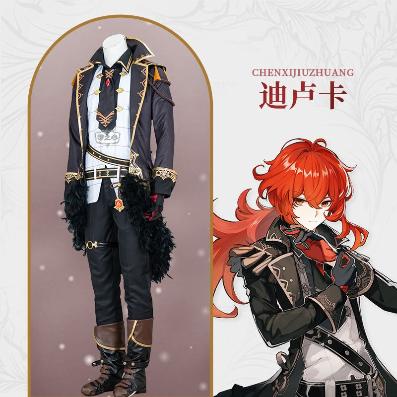 Costume Cosplay Diluc Genshin Impact Suit Party-Outfit Customized Anime Halloween Game