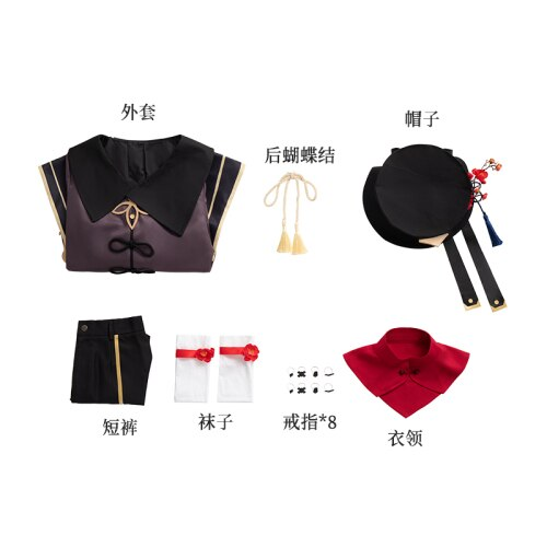 Anime Genshin Impact Hutao Game Suit Cosplay Costume Uniform Hu Tao Halloween Party Outfit For Women Girls Customized New 2021
