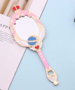 Makeup Mirror Metal Anime Dresser Oval Hand-Held Girl Blue Comb Red with Crystal Crown