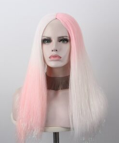 Anxin 2020 New Wave Curly Hair and Straight Hair Stitching Color Wig High Temperature