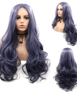 Blue Natural Wigs Hair Lace Front Wigs for Black Women 24inch Long Water Wave Synthetic