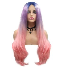 Blue Purple Pink Lace Front Wigs for Women Long Wavy 3T Colorful Synthetic Wig with Dark