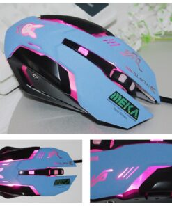Blue gaming mouse anime peripheral equipment wired breathing lamp game e-sports game