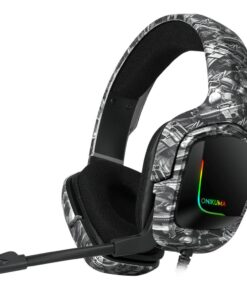 RGB Gamer Headphones Anime Noise-Cancelling with for Computer Laptop Gaming Camouflage