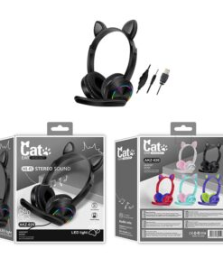 LED Headset Microphone Computer Anime Bluetooth Wireless Cat-Ears Portable with for Cartoon