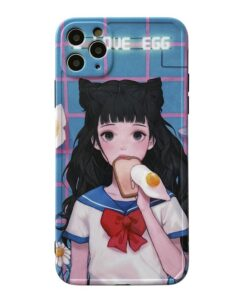 Cartoon Anime Girl Phone Case For iphone 12 11 Pro Max XR X XS Max 7 8 plus Cover Fashion
