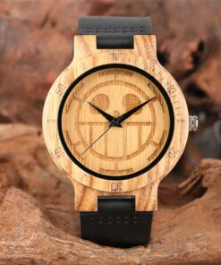Classic Japanese Anime One Piece Carving Wood Watch for Men Women Steampunk Cool Genuine