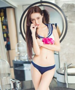 Cosplay Anime Transparent Swimsuit Bow Skirt Shirt Body Suits Sailor Suit Students School