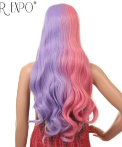 Cosplay Wig Mix Color Synthetic Hair Long Body Wave Lace Front Wig Glueless Ombre Anime