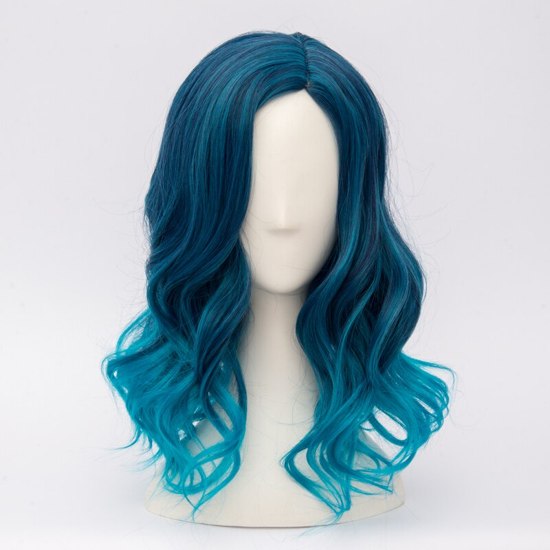 """CosplayMix18"""" Medium Mixed Blue Wavy Party Women Fashion Anime Cosplay Synthetic Wig+Wig"""