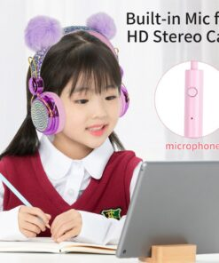 Ear-Headset Microphone Glitter Anime Headphone3.5mm Wired Girls Kids with for Birthday-Gift