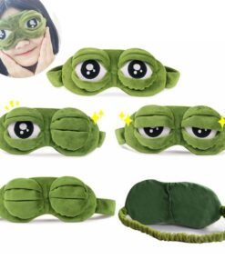Mask-Cover Beauty-Goggles Sleeping-Rest Relax Plush-The-Sad Eyes Funny 3D Frog Green