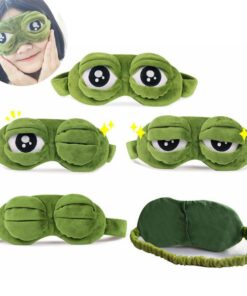 Mask-Cover Beauty-Goggles Sleeping-Rest Anime Plush Relax Travel Eyes Funny 3D Frog Green