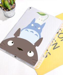 Cute Totoro Anime For iPad Pro 12.9 2020 Case With Pen Holder Clear Soft Cover For iPad