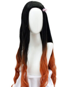 DIFEI 100cm Long Wavy Wig Synthetic Hair Anime Cosplay Wig Black Brown ombre Brown