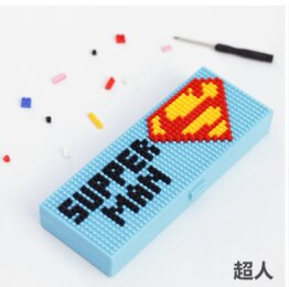 Stationery-Box Pencil-Case Primary-School Student Cute Gift Anime DIY Assembled Building-Blocks
