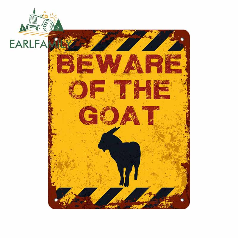 EARLFAMILY 13cm x 10.3cm for Beware of The Goat Cartoon VAN Anime Occlusion Scratch Decal