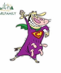 EARLFAMILY 13cm x 10.3cm for Cow and Chicken Kids Cartoon Anime Funny Car Stickers RV