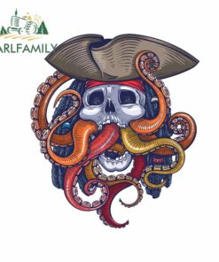 EARLFAMILY 13cm x 11.4cm for Pirate Octopus Sticker Skull Nautical Anime Car Stickers