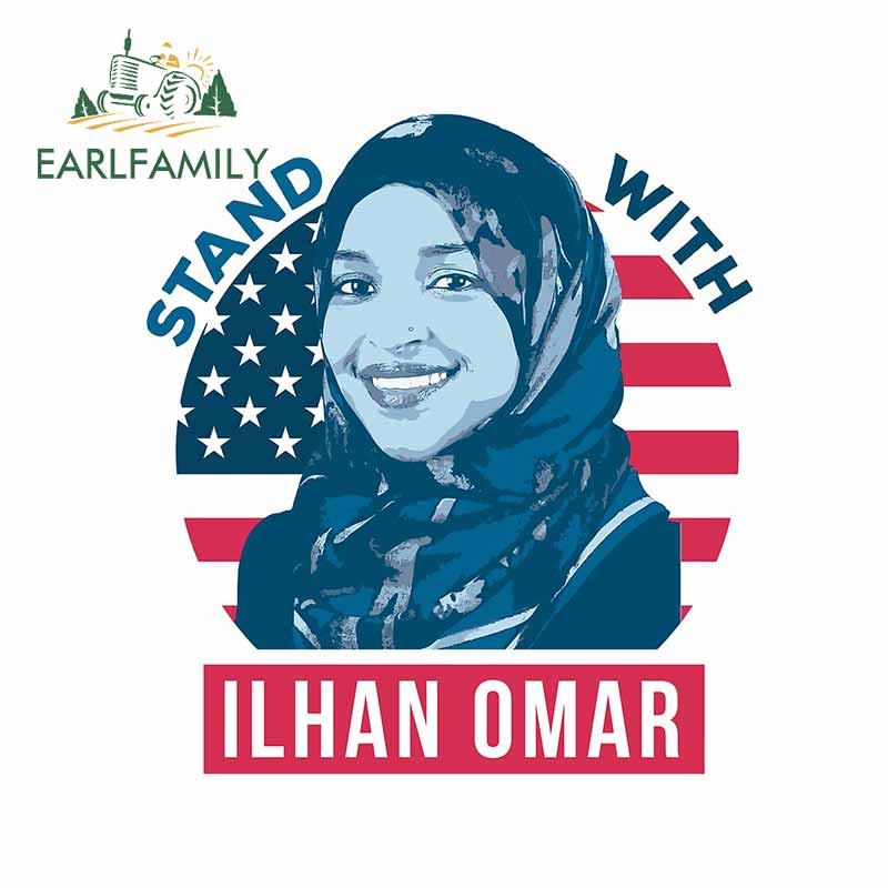 EARLFAMILY 13cm x 11.7cm for Stand With Ilhan Omar Waterproof Decal Windows Refrigerator