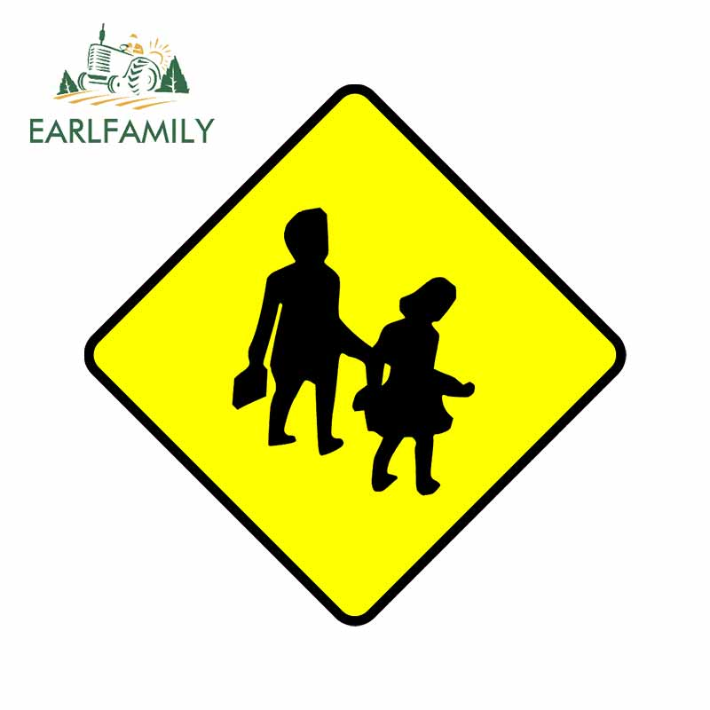 EARLFAMILY 13cm x 11.7cm for Traffic Sign Walking Personality Car Stickers Anime Motorcycle