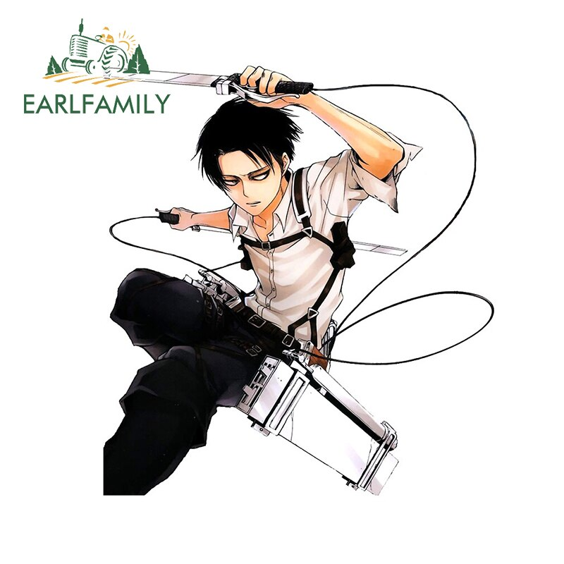EARLFAMILY 13cm x 12cm for Attack on Titan Car Stickers and Decals Levi Ackerman Vinyl